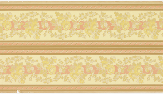 Alternating bands of swirling floral garlands and pink stripes with diagonal hash marks run horizontally across the panel. Two pink stripes are located in the center of the panel, and one at both the top and bottom edge. A wider pink band runs behind the two stripes of floral garlands. This design is printed in shades of brown, pink, yellow, gray and off-white on a beige ground.