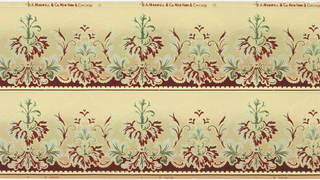 Printed two borders across the width. Alternating taller and shorter foliate motifs, each element outlined in metallic gold. Background shades from yellow-green at top to tan at bottom