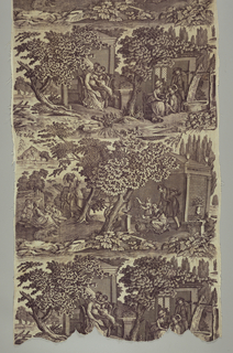Four scenes, one of a mother reading a letter from Nantes to her sons, a cottage scene of parents and children, a picnic during haymaking and a domestic scene with a woman writing or drawing. In sepia on white.