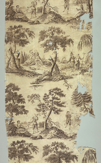 Four scenes of a male and a female figure in a rural setting. Each scene represents one of the four seasons. Each scene is separated by a tree. In black on white.