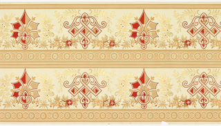 """Printed two borders across the width. Very stylized and geometric """"plant"""" motifs, alternating one pointy motif reminiscent of an anthemion surrounded by foliate wreath, and a more pendant motif with three squares across the middle. Motifs are joined by foliate swags. Printed in red, tan, and metallic gold on light yellow ground."""
