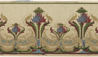 Horizontal repeat of large and small Art Nouveau inspired blossoms. Each frilly blossom grows from a stem, is framed by undulating leaves and sprouts a cloud of smaller green flowers. A wavy pattern of colorful, interwoven linework follows the bottom edge of the panel. Thin outlines of the blossoms and linework border appear to be off register, but this may be a purposeful design choice. An allover grid pattern formed of dashes and broken lines give the panel the appearance of a woven textile. This design was printed in shades of green, blue, magenta and tan on a beige background.