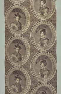 Framed portraits of two young women dressed in 1830s costume arranged in offset alignment. In purple on white.