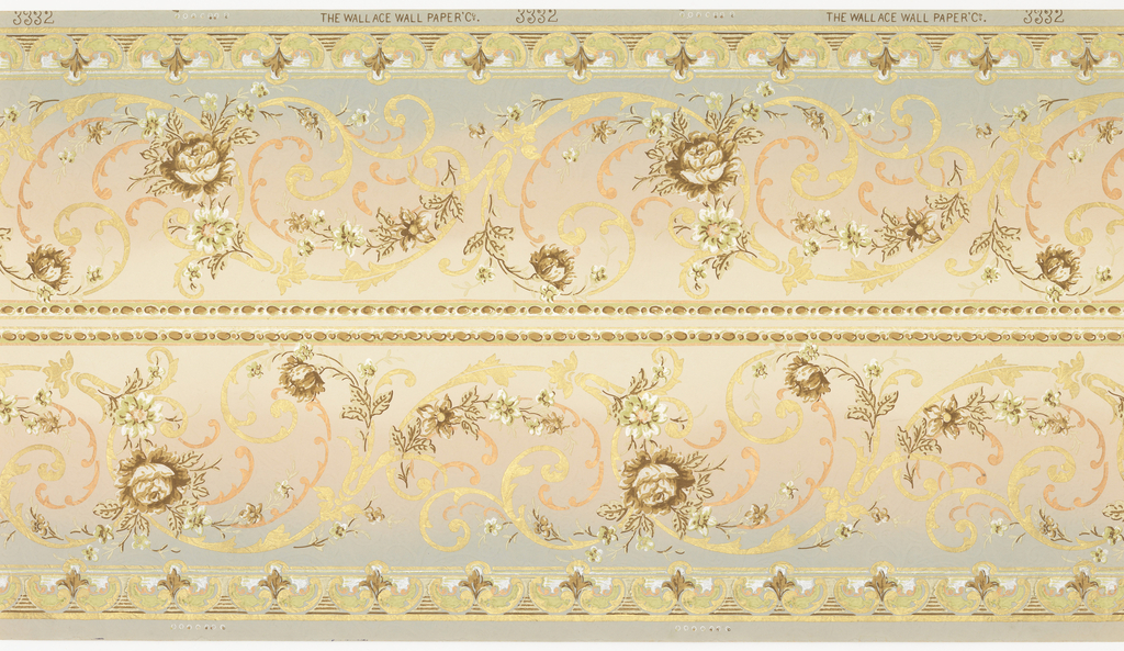 Printed two borders across the width. Foliate rinceau printed in metallic gold and copper, interspersed with brown and white flowers. Narrow band of beading along top edge. Printed on background that shades from light tan to pink to blue.
