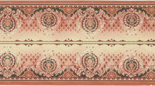 Printed two borders across the width. Alternating taller and shorter foliate motifs, each containing a floral motif. Petite stylized floral motifs between medallions having effect of trellis work. Faint floral garlands suspend from top. Printed on ground that shades from tan at top to red.