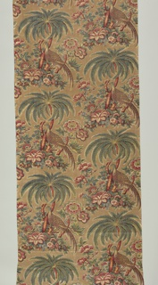Continuous pattern of one motif repeated as a straight half-drop: a pheasant standing on a broken branch of a palm-like tree growing on a small mound covered with flowers. A flowering shrub or tree on each side of mound. Pattern in strong colors on a light-brown background.