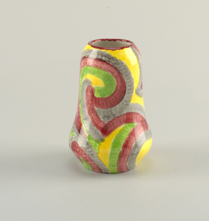 Vertical cylindrical vase, wider at the bottom narrowing to the top inward curving burgundy edge.  Surface handpainted with a yellow ground color and abstract, erratic lines in green, mauve, and gray.