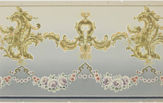 Flitter frieze with alternating medium and large foliate medallions, from which suspend pink and purple floral swags. Top has thin green stripe, bottom has a blue stripe and a thin silver mica flaked stripe. Grounding shades from light blue to green. Printed in purples, pinks, greens, yellows, and metallic brown, with outlines in silver mica flakes.