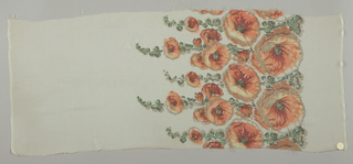Sample of off-white georgette crepe has a wide printed border of orange hollyhocks and green leaves with brocaded silver thread details.