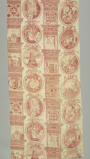Pillar print with two different pillars alternate with circular cartouches. The imagery is all associated with the secret society of Freemasons. In red on white.