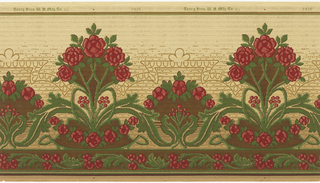 Tall bouquet of red flowers alternating with shorter bouquet. Printed on a tan ground that gets progressively darker towards the bottom. Band of red floral and foliage swag across bottom edge. Printed in red, green and tan on tan ground.