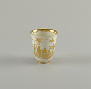 Bell shaped with ring foot. Engraved gilt chinoiserie decoration of figure, trees, birds and scrolls.