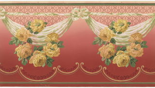 """Repeating yellow rose wreaths (each with six flowers) over/attached to drapery swags tied in bows that connect to a thin horizontal twisting ribbon. Above the swags is lattice pattern in dark red and two thin green stripes. Below the wreathers is a scroll pattern with floral bands. At the bottom are two green stripes. Grounding is shaded from dark red to light pink (bottom to top). Printed in gold mica, greens, pinks, yellows, and reds. Printed in selvedge: """"S. A. Maxwell & Co."""" """"2156"""""""