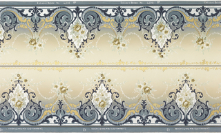 Printed two across. Floral medallions alternating with floral bouquets, connected by floral swags. Foliate scrolls along bottom. Printed in shades of blue, metallic gold and silver on ground that shades from blue at bottom to off-white at top.