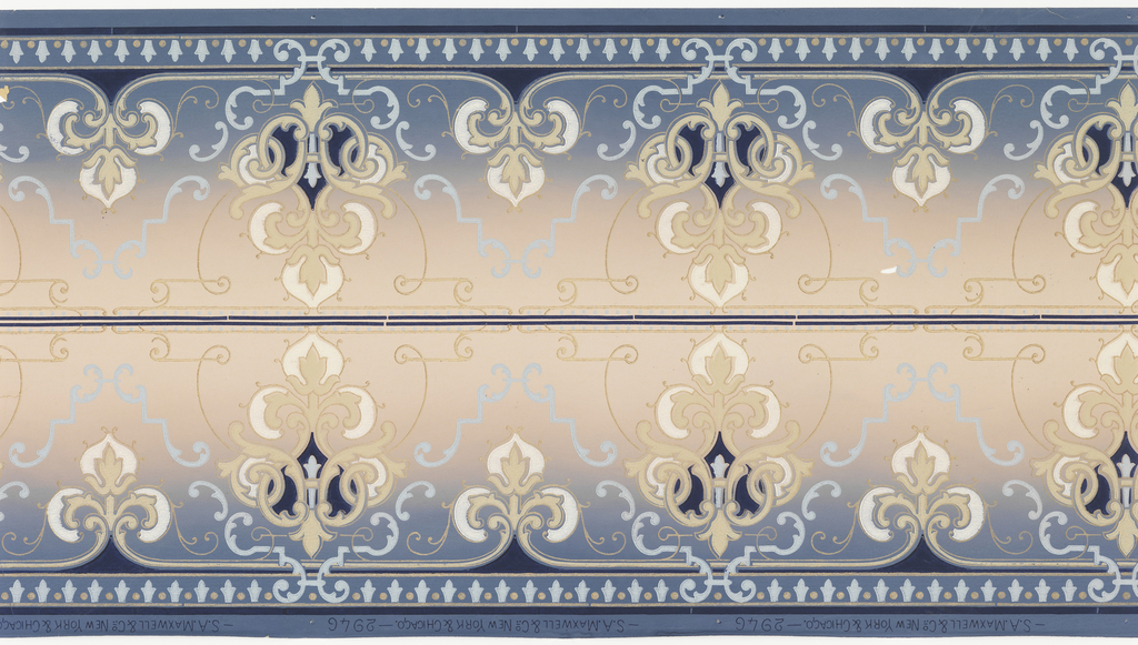 Borders printed two across the width. Alternating taller and shorter medallions. Taller medallion is topped by trefoil-like motif which is also the shorter medallion.  Printed on tan ground that shades to blue at the bottom.