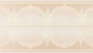 """Borders printed two across the width. Bouquets connected by floral swags (both with yellow roses). Secondary connecting floral swag tied with ribbon bows. The space between the bottom yellow & white stripes and the bouquet/swag is decorated with a woodgrain-like pattern of orange and pink mica. Grounding shades from pink (bottom) to cream (top). Slight tears. Printed in selvedge: """"Benton. Heath & Co."""" Pattern No. """"2644 WO"""""""