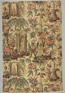 "Large-scale design, block-printed in madder colors, with pencilled blue on a ""tea"" ground. Various large flowers in shades of red, palms, and foliage among which appear attributes of Admiral Nelson's life. Upper left, an urn on a base with legend: THE NILE, arch, pyramid, and man on camel. Below an arch, Nelson's figure with drawn sword; legend above: ""Lord Nelson's Last Signal,"" and below: ""England Expects Every Man to do His Duty."" Right, a pyrimidal monument, flowers entwined; eagle at top; two dark figures right and left. Bottom, on base: TO THE MEMORY OF ABOUKIR, COPENHAGEN and TRAFALGAR. Sphinx at right of base."