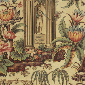 """Large-scale design, block-printed in madder colors, with pencilled blue on a """"tea"""" ground. Various large flowers in shades of red, palms, and foliage among which appear attributes of Admiral Nelson's life. Upper left, an urn on a base with legend: THE NILE, arch, pyramid, and man on camel. Below an arch, Nelson's figure with drawn sword; legend above: """"Lord Nelson's Last Signal,"""" and below: """"England Expects Every Man to do His Duty."""" Right, a pyrimidal monument, flowers entwined; eagle at top; two dark figures right and left. Bottom, on base: TO THE MEMORY OF ABOUKIR, COPENHAGEN and TRAFALGAR. Sphinx at right of base."""