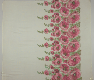 Sample of off-white georgette crepe has a wide printed border of pink hollyhocks and green leaves with brocaded silver thread details.