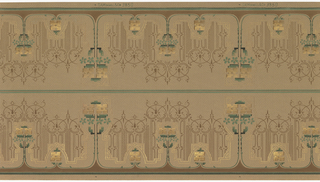 Printed two borders across the width. Alternating tall and short floral motifs, with a stemless flower separating each. Very lineal fill around floral motifs. Printed on dotted or dashed-pattern background.