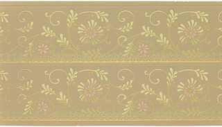 Printed two borders across the width. Foliate rinceau with a stylized flower at the center of each scroll. Printed in pink, light and midium green, and metallic gold on tan ground.