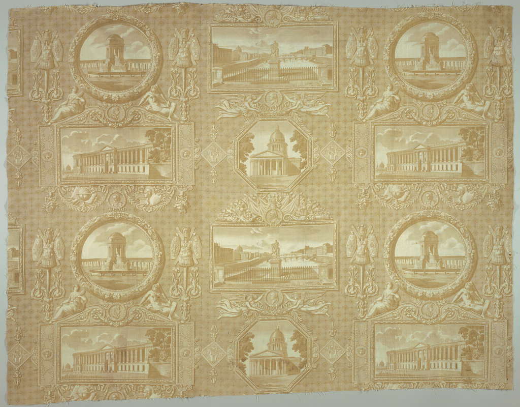 Four familiar scenes of Paris; statue of Henri IV on Pont Neuf, the Fountain of the Inocents, the Parthenon and the east front of the Louvre all shown in elaborate frames. In pale brown on white background.
