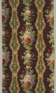 A satin-faced panel with a dark purple ground has naturalistic polychrome flowers arranged vertically between curving columns of decorative cartouches in dark green, tan and off-white. Panel is comprised of three sections of printed wool.
