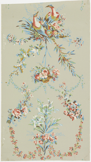 "In vertical design are pheasants among clusters of flowers and foliage, a basket of roses, and a bouquet of roses and lilacs. The latter two designs are enclosed by swags of leaves and flowers. Red, white, blue, yellow, green and brown on gray ground. On margin: ""R C a Paris, Made in France""."