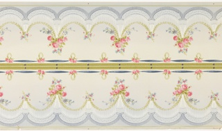 Printed two borders across the width, a scalloped blue fringe border and festooned garland of pink roses run across the the top and bottom edges of this panel, and mirror each other across a central divider of thick, greenish-yellow lines with pink nosegay and blue ribbon borders. This design is printed in shades of blue, green, pink and white on a beige ground.