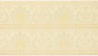 Printed two across, horizontal bands of alternating fan-like and lyre-shaped vegetal designs. The lyre-like arrangement has acanthus leaf borders and contains three daisies. Smaller bands of six-petaled blossoms separate the two wider bands. This design is printed in shades of gray, pale yellow and pink on a beige ground.