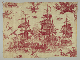 Sea battle with four ships engaged in combat. Parts of subsidiary, smaller scenes. In red on white.