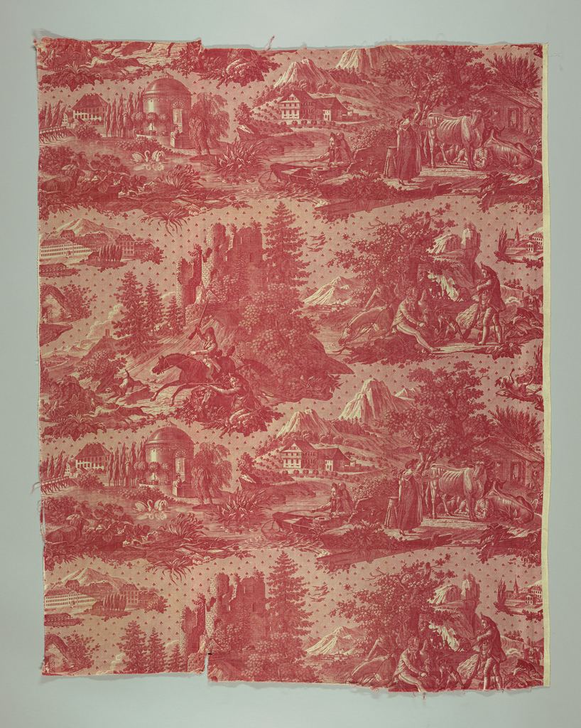 Pastoral scenes and scenes of hunters with the hartmann manufactory at the extreme right. In red on white.