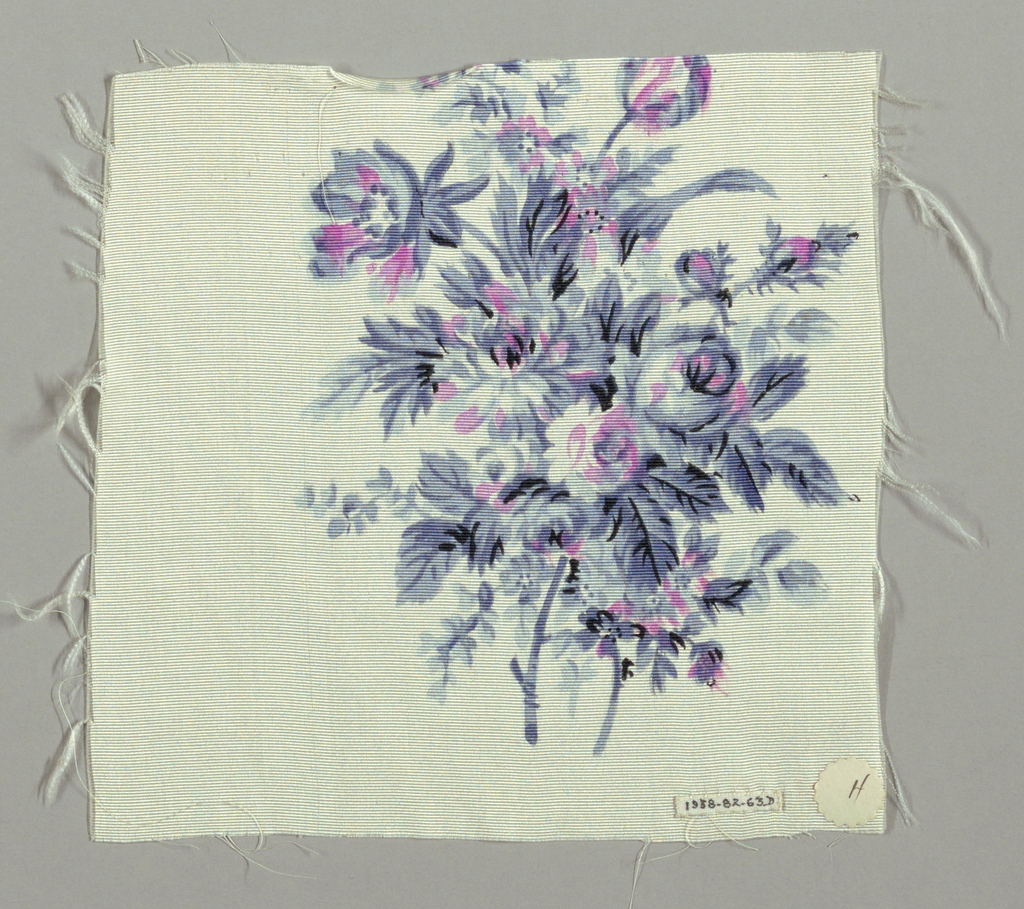 Sample has a white ground printed with a widely-spaced repeat of floral bouquets in shades of grey and pink with minor details in black.