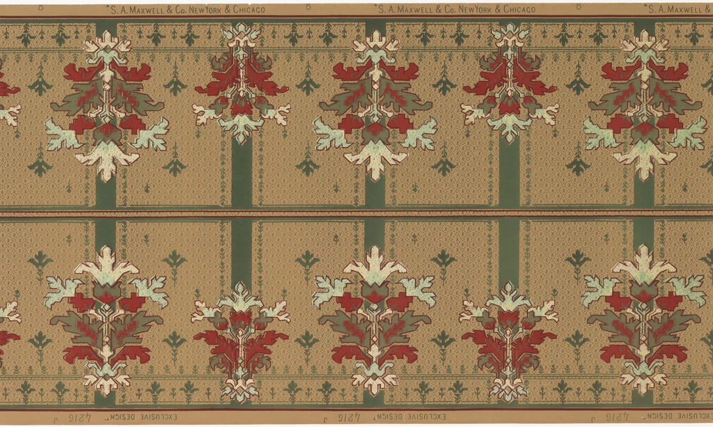 Printed two across. Stylized floral medallions alternating large and small. Vertical band behind each medallion. Printed in metallic green, red, olive green on gray/beige ground.