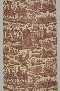Man seated on a chair before a crown Queen of France, horsemen carrying the standard of France, angel holding a crown over the head of a sleeping warrior, trumpeting angel escorting the Cross, amorous scenes, Fontainebleau palace and other scenes. In sepia on natural.