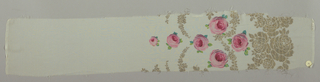 Sample of an off-white moiré ground has a wide border design of printed pink roses and green leaves with swags, garlands, and spires in brocaded gold thread.