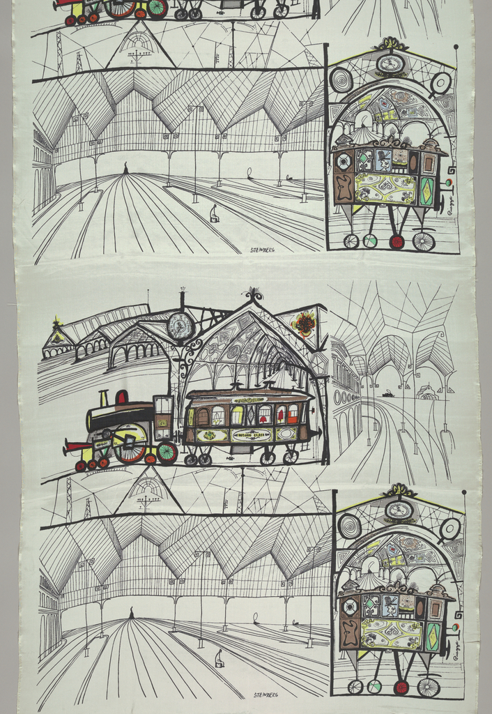 Vistas of railway stations, with emphasis on the metal structure, with engines, coaches, and passengers depicted. Line drawing in black on a white ground, with touches of color in blue, green, orange, and red.