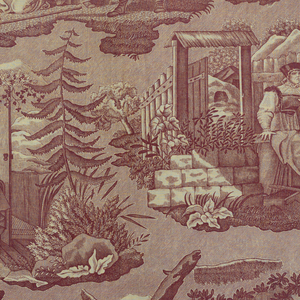 Scenes illustrating a story of a lost young woman. In purple on white.