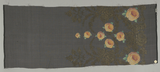 Sample of a solid black ground has a wide border design of printed orange roses and green leaves with swags, garlands, and spires in brocaded gold thread.