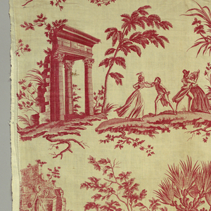 Series of scenes involving couples in amorous pleasures in pastoral settings. One scene shows a man kneeling before a woman while two seated older men (presumably the two fathers) watch. This is the scenes which gives the fabric its title. Another scene shows a gentleman looking off into the distance with a telescope while his page dallies with a seated woman. In red on white.
