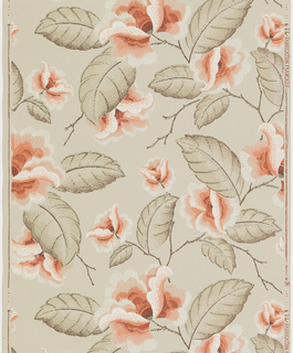 Large-scale vining floral pattern. Terra cotta-color flowers with leaves shaded using pebbles or dots.