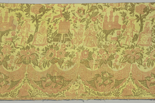 Panel of yellow wool serge printed in orange red and olive green. Architectural monuments, large scale men and women, and dog chasing a stag among floering trees. Border a festoon of flowers and human figures.