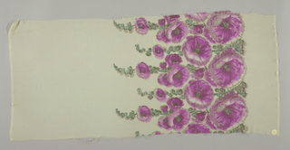 Sample of off-white georgette crepe has a wide printed border of violet hollyhocks and blue-green leaves with brocaded silver thread details.