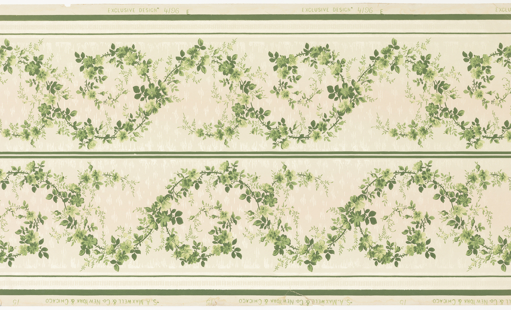 Printed two across. Green floral/foliate rinceau design. Printed on background that shades from off-white to pink to off-white. Narrow ribbon-like band below.