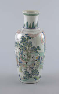 """""""Famille verte"""" decoration; oviform vase depicting noblewomen on balcony washing and sewing."""