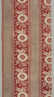 Coarsely woven curtain panel in wide stripes of red and black. Broad vertical band of red with a large open flower and foliage reserved in white alternates with a broad ban printed in horizontal black lines and overprinted with red dots. Guard borders between wider bands of red with white pattern edged with black line.