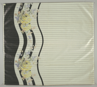 Sample of white taffeta with a deep chiné-printed border. Ground is striped with narrow gray lines while the border has wavy black lines, the widest one along the selvedge edge. Over the narrow wavy black lines are clusters of yellow roses with green, purple and pale orange leaves. Printed to be used as a bottom border of a garment.