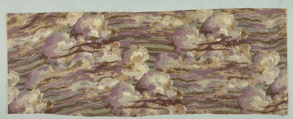 Striated clouds in purples, green, and brown.