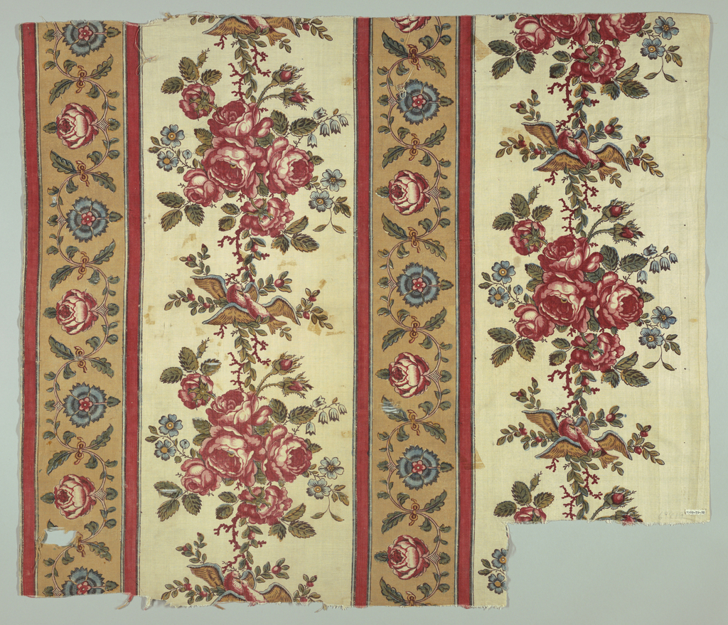 Heavy white fabric in a staggered design of broad white stripes with perpendicular arrangement of flowers and birds framed by a narrower stripe in light brown separated on both sides with a red edge. Flower garland motifs found within narrower stripe. Colors are red, brown, blue and green (printed with yellow and blue).
