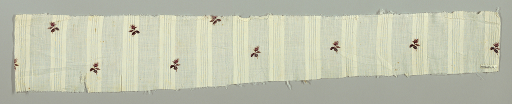 Fragments from a dress. Semi-transparent cotton with self-stripe printed with scattered, widely-spaced naturalistic rosebud in multicolor. Three blue threads in selvages.